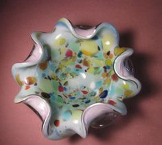 Vintage Murano Art Glass Bowl Biomorphic by thelazydogantiques