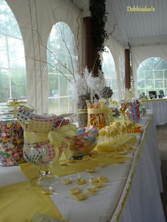 candy table but with champagne and coral colors instead of yellow