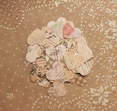 Vintage Parchment Paper Heart Confetti - DIY Wedding, Valentines Day, Scrap Book Embellishment (100 count). $4.95, via Etsy.