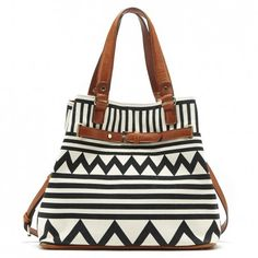 Black & white tribal-printed tote with a removable shoulder strap