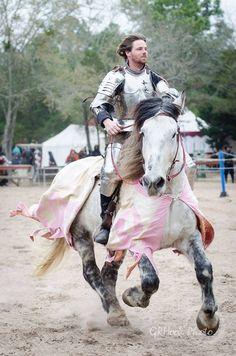 Robbie Hubbard on the Percheron gelding jousting horse Arthur(Arthur is wearing Eddie Rigney's caparison), mid-faire competitive jousting tournament, Sherwood Forest Faire 2015  (photo by GRHook Photo)