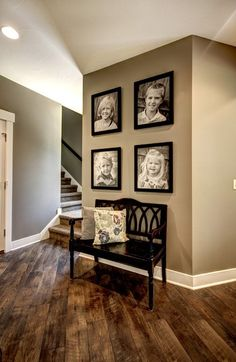 Wall color, floor, pictures and bench seat. Love this look for our second living room! love the wall color Home And Deco, My New Room, Wall Colors, Paint Colors, Floor Colors, Design Case, Wall Design, Design Bedroom, Design Design