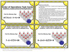 FREE Order of Operations Task Cards: FREE Addition, Subtraction & Multiplication Task - These Order of Operations task cards are a great alternative to worksheets!   https://www.teacherspayteachers.com/Product/Order-of-Operations-Task-Cards-FREE-Download-1136038