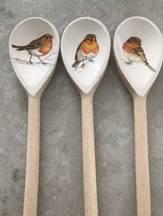 Christmas decoupage wooden spoons - set of 3