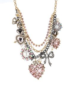 Betsey Johnson heart & bow charm necklace