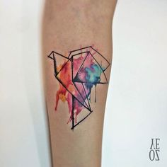 Origami Paper Crane Watercolor Tattoo Idea
