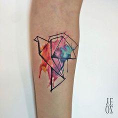 Origami Paper Crane Watercolor Tattoo Idea