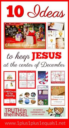 This post features 10 Ideas to keep Jesus at the center of Christmas for kids. Favorite Christ centered Christmas books, printables, toys, and educational activities. Great for preschool, Kindergarten and elementary students. School Christmas Gifts, Homemade Christmas Gifts, Christmas Books, 12 Days Of Christmas, Family Christmas, Christmas Crafts, Christmas Countdown, Christmas Recipes, Xmas