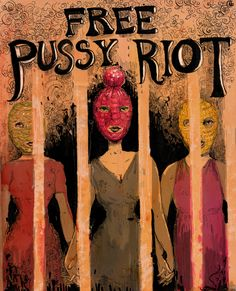 Great poster by http://mollycrabapple.tumblr.com. Hi-res image here: http://mollycrabapple.com/wp-content/uploads/2012/08/pussy_riot.jpg    Join the campaign and stay up to date at http://amnesty.org.uk/pussyriot #freepussyriot