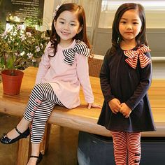 Children Clothing Set Girl Stripes Bows Clothing Set  for Baby Girls Bow On blouse+Striped Leggings Suit Autumn Winter Clothes #Affiliate