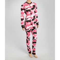 Lazy One Pink Camo 'Deeriaire' Flapjack Pajamas ($26) ❤ liked on Polyvore featuring intimates, sleepwear, pajamas, lazy one pjs, camouflage sleepwear, camo sleepwear, cotton pjs and pink pajamas
