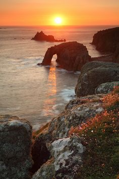 visitheworld:    Sunset at Land's End, Cornwall, England (by midlander1231).