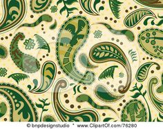 Green And Beige Seamless Paisley Background Pattern Posters, Art Prints