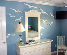 Seagull Sign Beach House Decor Huge Flock of by CastawaysHall