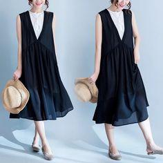 Black summer silk join long dress