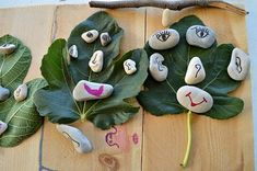 """Faces with stones & leaves - from Blog Me Mom ("""",)"""