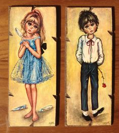 Image result for big eyes 70s girl painting