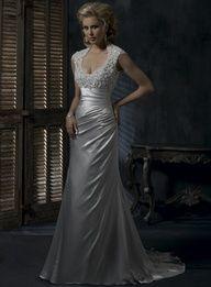 Sexy A-line backless satin wedding dress