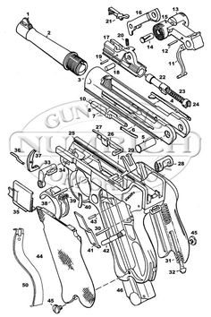 Numrich Gun Parts German Luger Schematic Image Luger Pistol, Revolver Pistol, Revolvers, Mens Toys, Military Weapons, Technical Drawing, Guns And Ammo, Firearms, Hand Guns