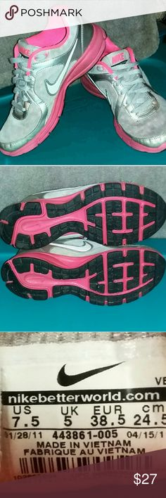 4640bf9837db Hot Pink and Silver Nike Shoes Athletic Shoes