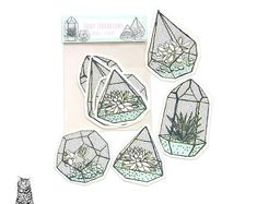 Surface Pattern Designs by TasherellaKitty on Etsy Teeny Terrarium Vinyl Sticker Collection Pattern Designs, Surface Pattern Design, Stationary Supplies, Terrarium, Artisan, Etsy Seller, Sticker, Creative, Anime