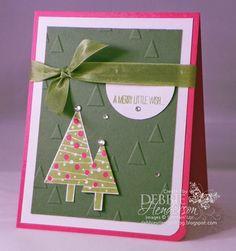Stampin' Up! Festival of Trees & Tree Punch. On Point Embossing Folder. Debbie Henderson, Debbie's Designs.
