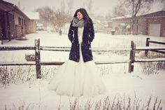 pretty rural photo in winter with bride