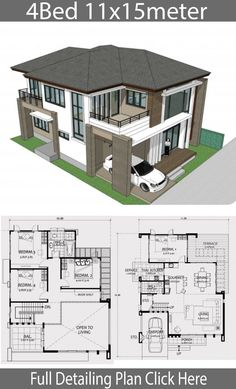 Wohndesign 11x15m mit 4 Schlafzimmern - Wohndesign mit Plan -
