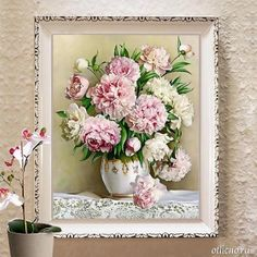Oriental Vase Flower Canvas DMC Cross Stitch Kits Art Crafts Accurate Printed Embroidery DIY Handmade Needle Work Home Decor Embroidery Flowers Pattern, Cross Stitch Embroidery, Embroidery Patterns, Dmc Cross Stitch Kits, Fleurs Diy, Mosaic Pictures, Flower Canvas, Floral Flowers, Peony Flower