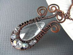 Wire Wrapped Jewelry Crystal Necklace Wire Wrapped Pendant Copper Jewelry Eternal Flame Briolette Free Form Wire Wrap