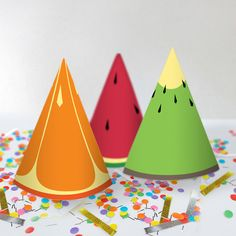 Party Hats Only // Tutti Frutti Party Theme // by PaperConfete Party Kit, Diy Party, Ideas Party, Fruit Birthday, 2nd Birthday Parties, Birthday Month, Tutti Frutti, Tutti Fruity Party, Summer Crafts For Toddlers