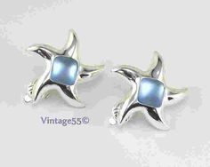 Earrings Starfish Silver tone Frost Blue Clip on by Vintage55, $16.00