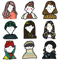 あなた(あの人)の似顔絵、ポストカードにいたします Simple Illustration, Character Illustration, Graphic Illustration, Kawaii Doodles, Illustrator Tutorials, Cartoon Kids, Cute Drawings, Cute Art, Illustrators