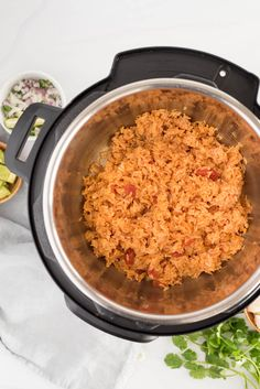 overhead of an instant pot with spanish rice Taco Side Dishes, Best Pressure Cooker Recipes, Pressure Cooking Today, Mexican Food Recipes, Ethnic Recipes, Spanish Rice, Most Popular Recipes, Instant Pot