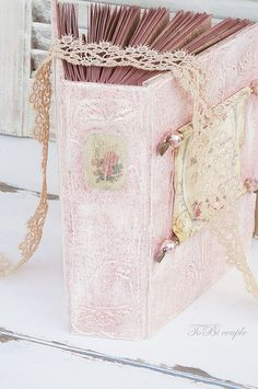 Vintage,Shabby Chic ,Soft Pink and Gold, Guest Book or Wedding album.   My…