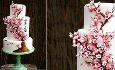multi dimensional cake decorating cherry blossom wedding cake Japanese influence by Nadya's Cakes & Bakes UK Cherry Blossom Cake, Cherry Blossom Wedding, Wedding Cake Designs, Wedding Cakes, Wedding Vows, Wedding Stuff, Artisan Cake Company, Swirl Cupcakes, Japanese Cake