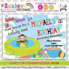 084 DIY Pool Fun 2 Party Invitation Or Thank by LilRbwKreations