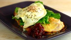A great use of Thanksgiving leftovers!...Turkey Croque Monsieurs or Madames with Cranberry Rosemary Relish