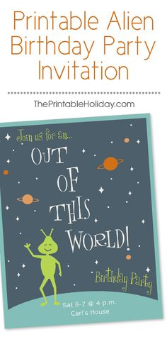 """This printable alien birthday invitation features a black galaxy is full of twinkling stars and planets, framed in aqua blue with a delightful, green alien smiling and waving. The copy reads """"join us for an out of this world birthday party,"""" and the message can be personalized online."""