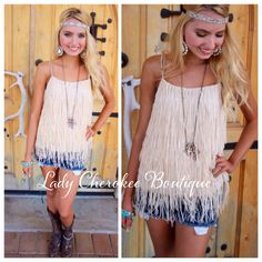 "https://instagram.com/ladycherokeeboutique RESTOCK of our hottest selling tank alert!!!! Wild Child IVORY FRINGE TANK ✨Chandler is wearing a Small✨ Price: $36.00, Free Shipping Qty: 11 small, 9 medium,  9 large Please comment ""Sold, state, size, and quantity needed, as well as your email to purchase. Also, you must let us know what state you live in, before we can invoice you!"