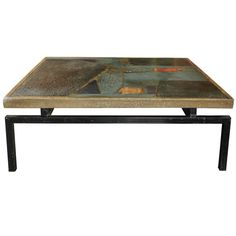 Paul Kingma Coffee Table With Incrustation Of Slate & Stone Pieces…