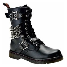 Disorder 10 hole Buckle combat boots ❤ liked on Polyvore featuring shoes, boots, footwear, buckle combat boots, army boots, combat boots, buckle boots and combat booties