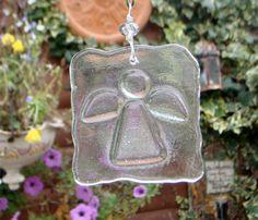 Fused glass angel suncatcher hanging ornament by GeckoGlassDesign, $25.00
