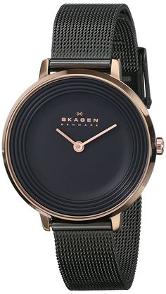 Amazon.com: Skagen Women's SKW2277 Ditte Rose-Tone Stainless Steel Watch with Black Mesh Bracelet: Skagen: Watches