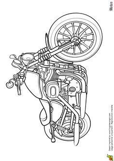 Dessin à imprimer et à colorier d'une superbe moto routière - Hugolescargot.com