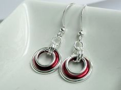 Chainmaille earrings red chainmaille by handmadeintoronto