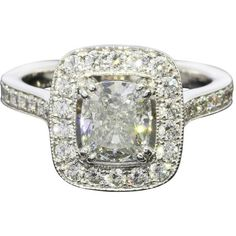 1.40 Carat Gia Cert Cushion Diamond Halo Gold Engagement Ring (£6,100) ❤ liked on Polyvore featuring jewelry, rings, multiple, cushion cut halo diamond ring, gold cocktail rings, gold band ring, band engagement rings and gold rings