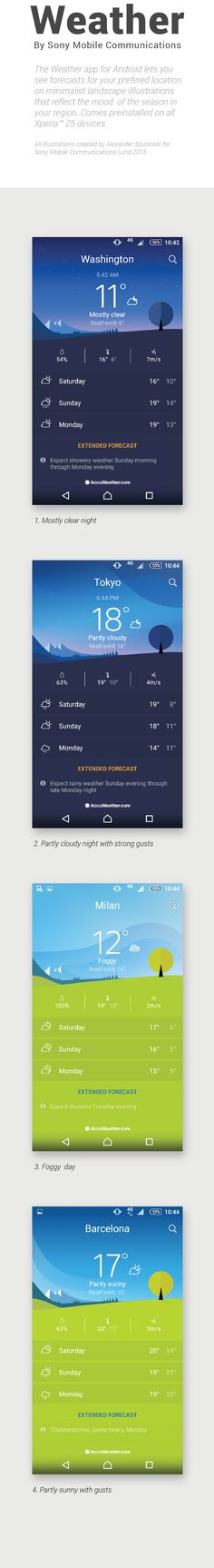 Weather app with minimalist landscape illustrations by Sony Mobile Communications Gui Interface, User Interface Design, Web Design, App Ui Design, Application Mobile, Application Design, Material Design, Site Vitrine, App Design Inspiration