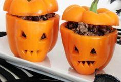 Jantar Halloween, pimentão recheado