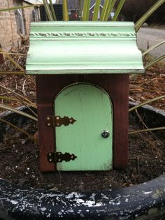 New Fairy Door that opens green distressed awning 2 by WoodenBLING, $35.00